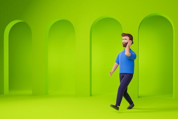 Cartoon baard man in glazen en blauw t-shirt wandelen en praten smartphone over groene abstracte achtergrond. 3d render illustratie.