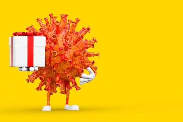 Cartoon coronavirus covid-19 virus mascotte persoon karakter met geschenkdoos en rood lint op een gele achtergrond. 3d-rendering