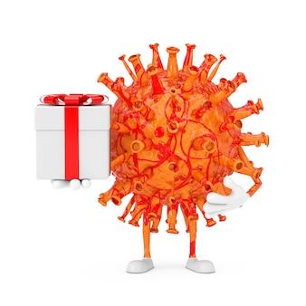 Cartoon coronavirus covid-19 virus mascotte persoon karakter met geschenkdoos en rood lint op een witte achtergrond. 3d-rendering
