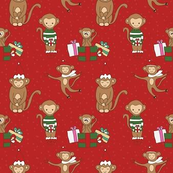 Cartoon doodle apen naadloos patroon