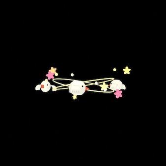 Cartoon duizelig sterren en vogels effect op zwarte achtergrond 3d-gerenderde afbeelding