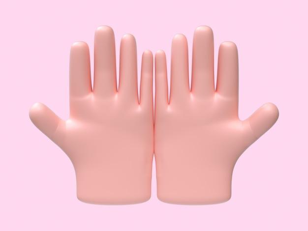 Cartoon hand abstract zingen / symbool roze achtergrond 3d-rendering