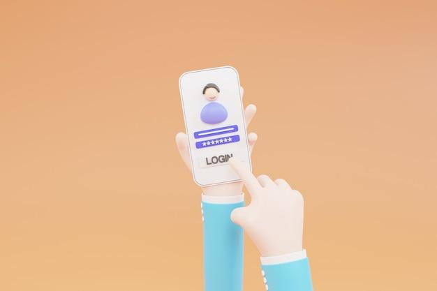 Cartoon hand, log in op een online account op een smartphone-app. gebruikersomgeving. veilige login en wachtwoord. 3d illustratie