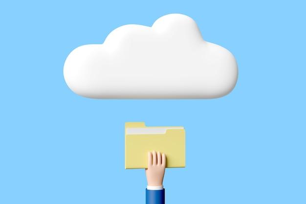 Cartoon hand met een map met bestanden onder een wolk geïsoleerd
