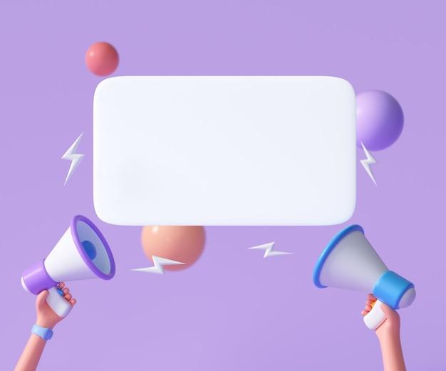Cartoon hand met megafoon met tekstballon op paars