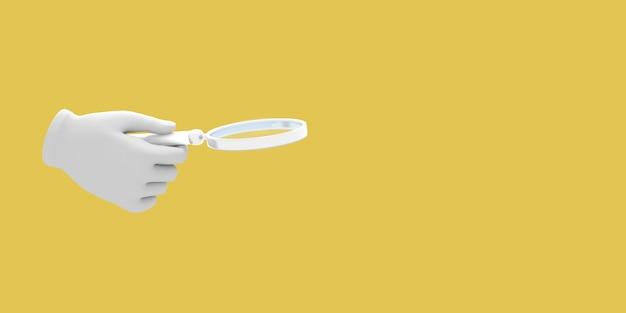 Cartoon hand met vergrootglas illustratie op gele kleur achtergrond 3d-rendering
