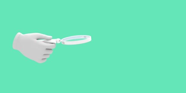 Cartoon hand met vergrootglas illustratie op groene kleur achtergrond 3d-rendering