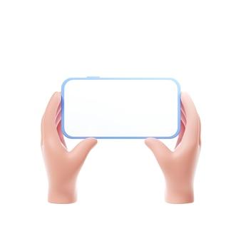 Cartoon handen met smartphone