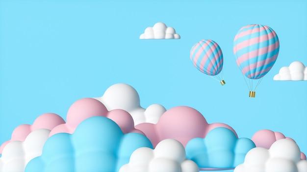 Cartoon illustratie van hete ballon in de lucht