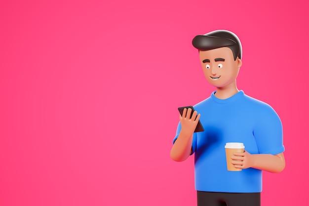 Cartoon karakter man in blauw shirt houdt koffie vast en kijk naar smartphone over roze achtergrond met kopieerruimte. 3d render illustratie