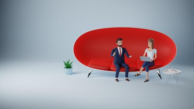 Cartoon karakter zakenman en vrouw met behulp van laptop zitten in rode bank. zakelijke bijeenkomst interview concept. 3d-rendering