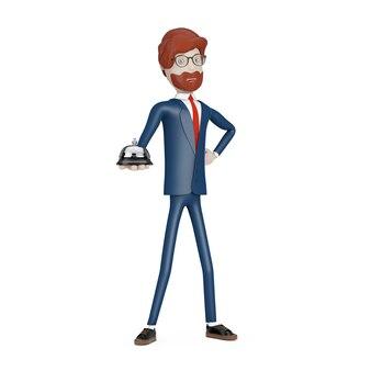 Cartoon karakter zakenman met desk service bell ring in hand op een witte achtergrond. 3d-rendering