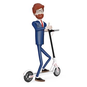 Cartoon karakter zakenman met witte moderne eco elektrische kick scooter op een witte achtergrond. 3d-rendering