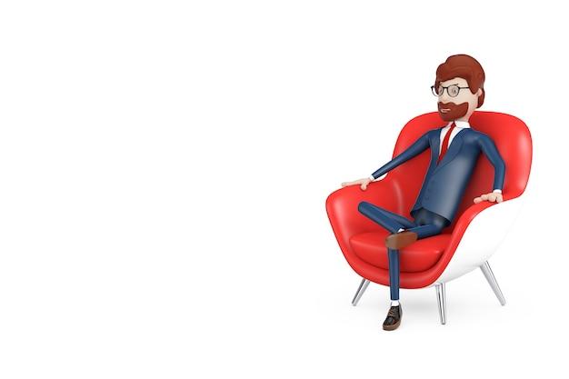 Cartoon karakter zakenman rusten in rode moderne lederen ontspannen fauteuil op een witte achtergrond. 3d-rendering