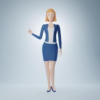Cartoon karakter zakenvrouw wijst een vinger naar een lege ruimte. 3d illustratie