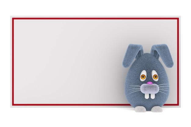 Cartoon konijn en banner op witte ruimte. geïsoleerde 3d-afbeelding