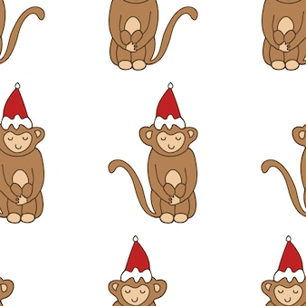 Cartoon leuke grappige doodle apen naadloze patroon