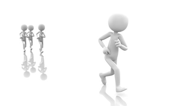 Cartoon mensen lopen competitie. 3d-rendering afbeelding