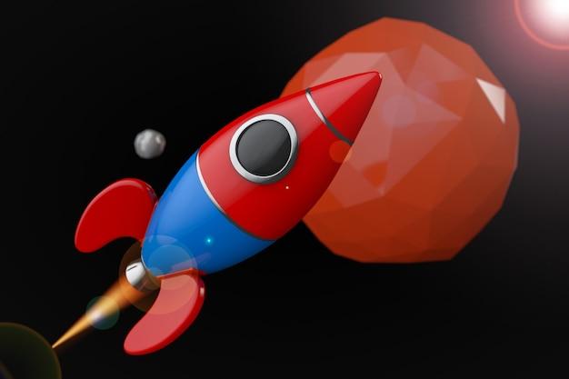 Cartoon raket in de buurt van rode planeet in deep space. 3d-rendering