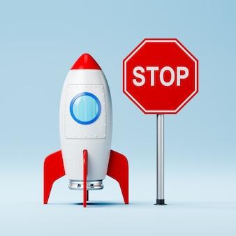 Cartoon ruimteschip en rood stopbord op blauwe muur