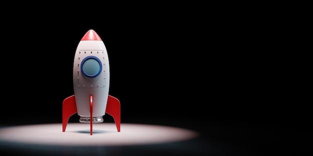 Cartoon ruimteschip in de schijnwerpers geïsoleerd