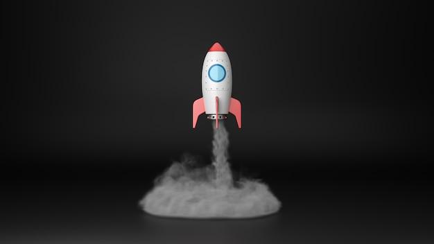 Cartoon ruimteschip opstijgen in de schijnwerpers geïsoleerd