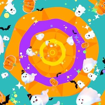 Cartoon schattige halloween spoken vleermuizen pompoenen en sterren patroon
