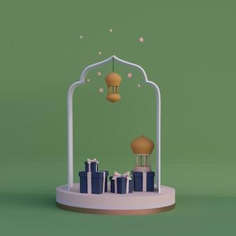 Cartoon stijl islamitische illustratie met wassende maan arabische lantaarn ramadan kareem mawlid iftar isra miraj 3d-rendering