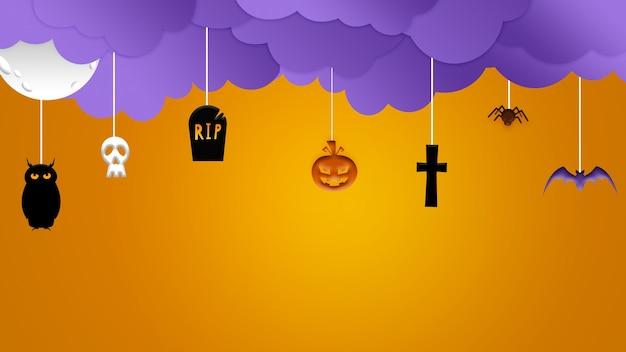 Cartoon stijl schedels en paarse wolken op oranje achtergrond, de nacht van angst. ontwerp voor verkoop, copyspace. halloween, zwarte vrijdag, cybermaandag, verkoop, herfstconcept. flyer voor uw reclame.