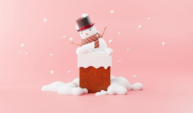 Cartoon van sneeuwpop op de schoorsteen