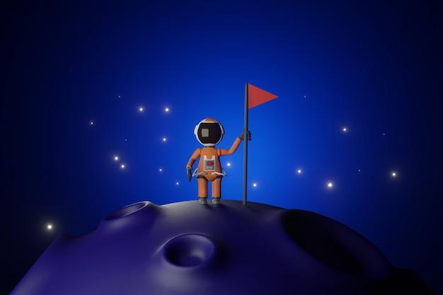 Cartoon versie ontwerp van astronaut astronaut met vlag staat op maan blauwe toon 3d-rendering