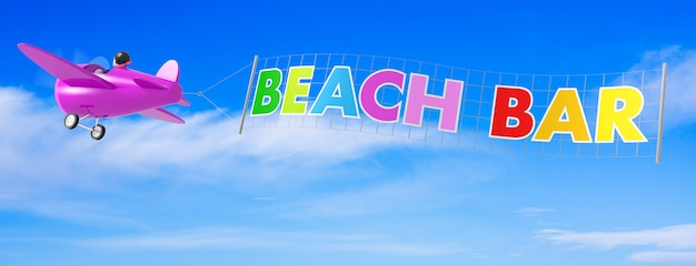 Cartoon vliegtuigen met beach bar banner. 3d-rendering