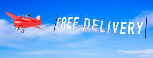 Cartoon vliegtuigen met gratis levering banner. 3d-rendering