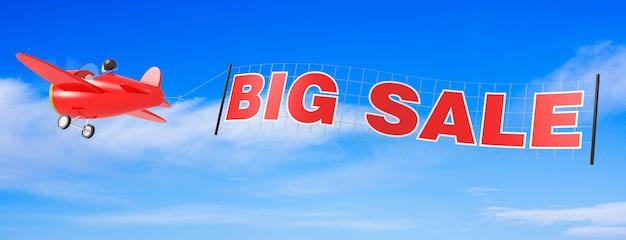 Cartoon vliegtuigen met grote verkoop banner. 3d-rendering