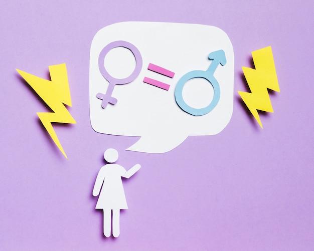 Cartoon vrouw na te denken over gendergelijkheid