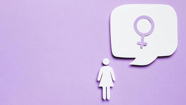 Cartoon vrouw na te denken over haar geslacht