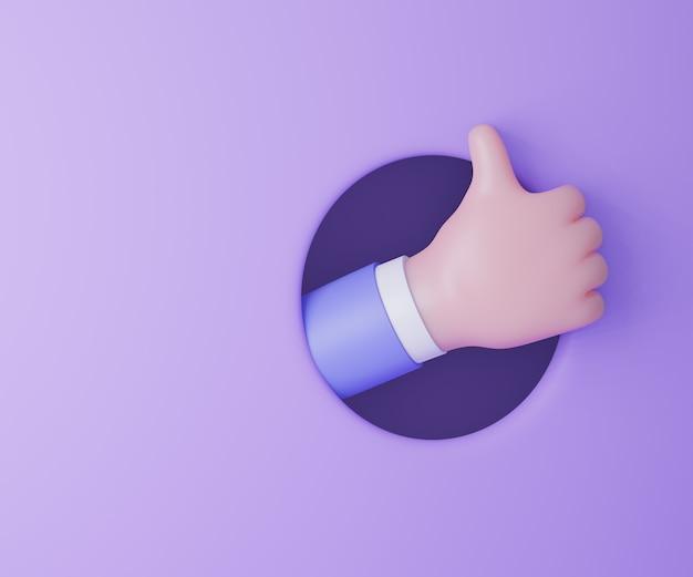 Cartoon zakenman hand duim omhoog van cirkel houd paarse achtergrond. 3d render illustratie