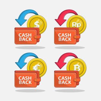 Cashback naar portemonnee pictogram illustratie