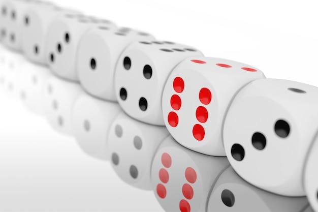 Casino gokken concept. rij van white game dice cubes op een witte achtergrond. 3d-rendering