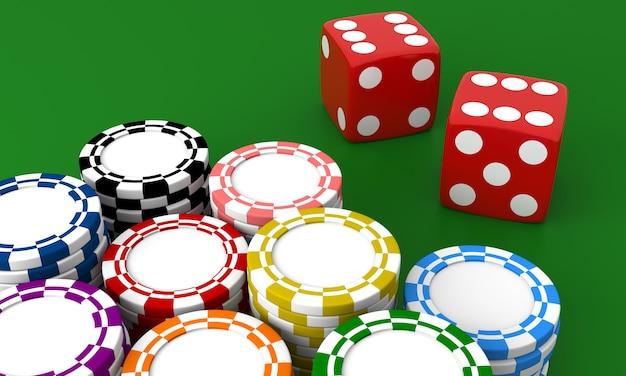 Casino gokken. dobbelstenen en chips op groene geïsoleerde achtergrond.