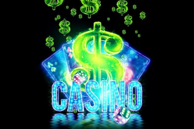 Casino-inscriptie. neonchips en kaarten voor poker, casinohologramatrebutics. winnen, casino-advertentiesjabloon, gokken, vegas-spellen, wedden. 3d illustratie, 3d render.