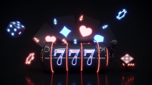 Casino-neonachtergrond met vallende gokautomaat en pokerfiches premium foto.