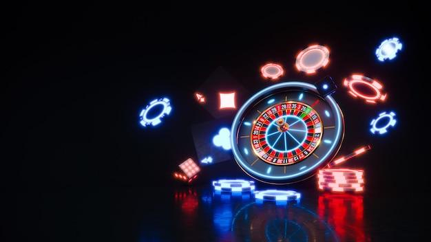Casino-neonachtergrond met vallende roulette en pokerfiches premium foto.