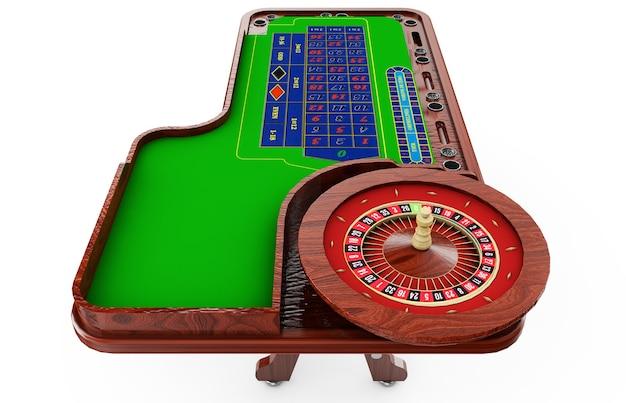 Casino roulettewiel met casinofiches geïsoleerd op groene casino tafel realistische objecten 3d render