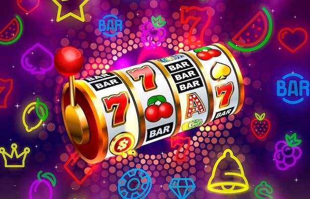 Casino slots pictogrammen slot teken machine nacht vegas vector