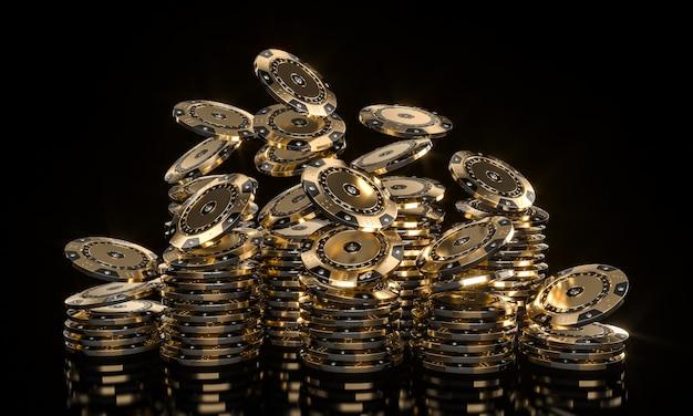 Casinofiches gemaakt van goud en gezette diamanten