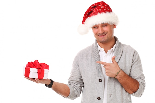 Casual volwassene met kerstmuts