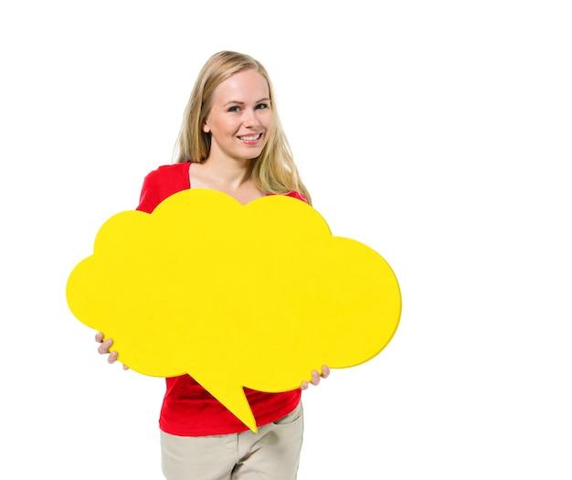 Casual vrouw met tekstballon