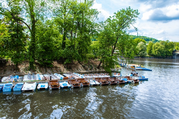 Catamaran verhuurstation. catamarangang op het meer