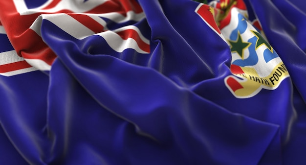 Cayman eilanden vlag ruffled prachtig wapperende macro close-up shot